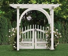 Arched Arbor with a Westchester Double Gate | Wood Arbors and Solid Cellular PVC Arbors from Walpole Woodworkers