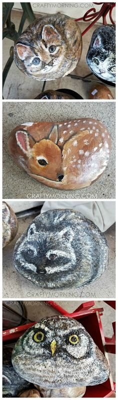These rock painted animals are adorable! Would be so cute to put in the garden. There's a cat, deer, owl, and raccoon!