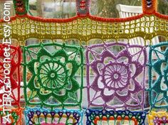 This seller usually responds in 24 hours. Boho Curtains, Crochet Curtains, Colorful Curtains, Panel Curtains, Curtain Panels, Crochet Curtain Pattern, Crochet Motifs, Crochet Geek, Crochet Home