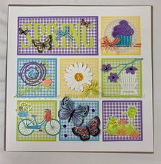 Like thr gingham background Diy Shadow Box, Shadow Box Frames, Spring Crafts, Holiday Crafts, Poinsettia Cards, Collage Frames, Collage Ideas, Boxes And Bows, Stamping Up Cards