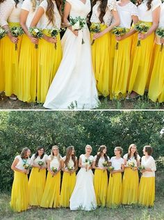 Awesome bridesmaid look: a bold long skirt with a mismatched white top!