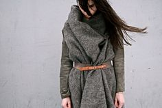 The combo of the gray flannel coat with the belt is lovely. Life Coat. Jetkorine.