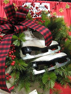 Olde Tyme Marketplace Ice Skates In A Wreath. Christmas Greenery, Christmas Love, Country Christmas, Outdoor Christmas, All Things Christmas, Winter Christmas, Vintage Christmas, Christmas Wreaths, Christmas Decorations