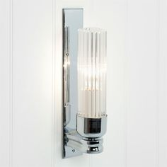 Raydon Wall Light with Fluted Glass made by Jim Lawrence Glass Wall Lights, Bathroom Wall Lights, Glass Bathroom, Mirror With Lights, Bathroom Lighting, Kitchen Lighting, Factory Lighting, Hand Blown Glass, Polished Nickel