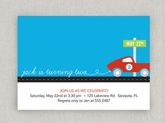 Race Car Party Invitation by twopoochpaperie on Etsy, $18.00