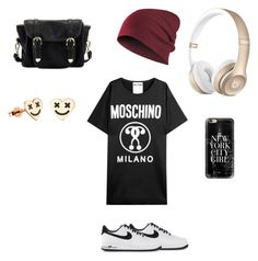 """""""Untitled #6"""" by glittergorgeous1989 ❤ liked on Polyvore featuring moda, Moschino, NIKE, Poverty Flats y Casetify"""