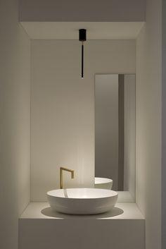 tubetto ceiling Lamps production made in Italy Contemporary Bathroom Designs, Bathroom Design Luxury, Modern Track Lighting, Casa Milano, Funky Design, Bath Light, Guest Bath, Minimalist Decor, Apartment Living