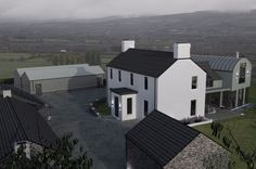 New build contemporary farmstead with curved metal roof Farmhouse Renovation, Modern Farmhouse Exterior, Farmhouse Remodel, Farmhouse Design, Farmhouse Contemporary, Contemporary Houses, Farmhouse Interior, Barn Style House Plans, House Designs Ireland