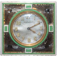 Deco Enamel Clock #antique #1stdibs #theclock #christianmarclay #moma #clock #rare #artdeco #1920s #green #vintage (via @1stdibs)