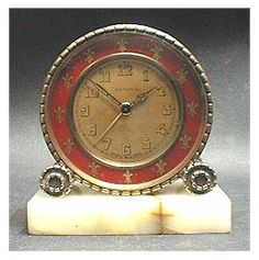 Zenith brass and enamel alarm clock - 1920's