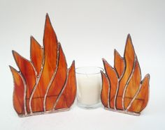 Flames Stained Glass Candle Holders Matched Set Handmade. $75.00, via Etsy.