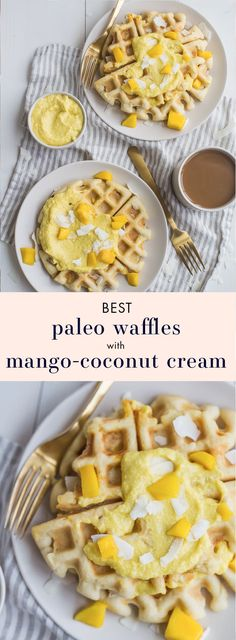 These are the best paleo waffles, topped with sweet mango cream. They're tender and light, sweet and flavorful. Topped with a sweet mango cream made from healthy, real ingredients, this dish will beco (Paleo Breakfast Recipes)