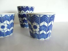 Soba choko (buckwheat noodle cups) set of 5 - Japanese antique - cherry blossoms and arrow feathers - WhatsForPudding #1687