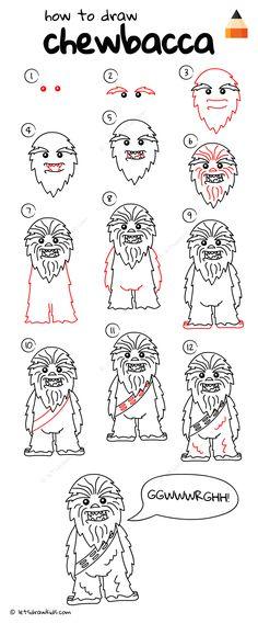How To Draw Chewbacca from STAR WARS Star Wars Drawings, Doodle Drawings, Drawing Sketches, Drawing Drawing, Pattern Drawing, Drawing Ideas, Star Wars Crafts, Star Wars Art, Chewbacca