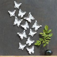 Butterfly Wall Art 3D White Butterflies Set of by StudioLiscious, $20.00