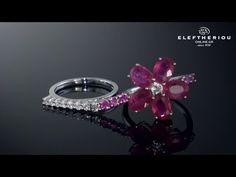 Δαχτυλίδι λευκόχρυσο Κ18 με Ρουμπίνια & Διαμάντια - 18K Diamond Ring - M...