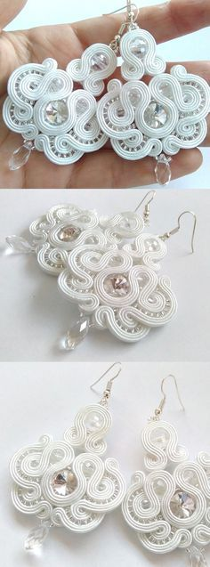 Wedding Bridal soutache earrings £28.00. Hand-made with high quality materials. The main decoration is crystals. The strings are of Czech manufacturer and glass beads. Great vintage theme inspired earrings for a Gatsby 1920's Art Deco Bridal Theme Wedding. #bridal #weddingaccessories #soutache #weddings #earrings #bridalwear #bride #affiliatelink #handmade #vintagetheme