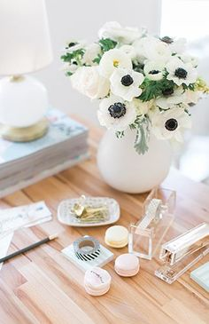 The Romanticist Home Studio Tour - Inspired by This - Fresh flowers for your desk! Office inspiration!