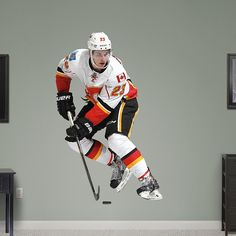 Sean Monahan  REAL.BIG. Fathead – Peel & Stick Wall Graphic | Calgary Flames Wall Decal | Sports Home Decor | Hockey Bedroom/Man Cave/Nursery