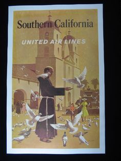 United Airlines Southern California Vintage Poster