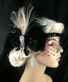 Art Deco Headband, Flapper Costume,1920s Head Piece,Ivory Peacock Feather, Black Ostrich Plumes, Black Sequins, Veil, Ship Ready