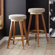 "Mid-Century Swivel Bar + Counter Stool |  Dimensions: 15.5""diam. x 26.6""h 
