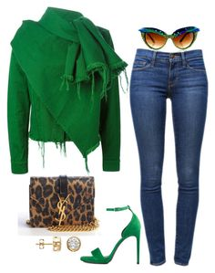 Love the green, can't walk in the shoes.A fashion look from September 2015 featuring Marques'Almeida jackets, Frame Denim jeans and Yves Saint Laurent sandals. Browse and shop related looks. Mode Outfits, Chic Outfits, Fall Outfits, Fashion Outfits, Womens Fashion, Looks Style, Casual Looks, My Style, Casual Chic