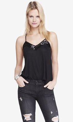 sequin embellished racerback cami - pitch black from EXPRESS
