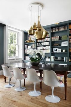 Modern dining room with bookshelf