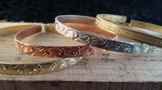 Copper, Brass and Nickel Silver Adjustable Cuff Bracelets Patterned Wire lgbstyles Womens Statement Jewelry Unique Gift Special Occasion by LGBStyles on Etsy