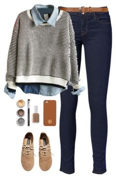 """""""oxfords"""" by classically-preppy on Polyvore featuring J Brand, Dorothy Perkins, H&M, Bare Escentuals, Tory Burch, Essie, women's clothing, women's fashion, women and female"""
