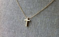 Small golden cross necklace by JillPickles on Etsy
