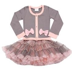 8722ffa2100f Platinum Gray & Pink Coco Cardigan Dress Ooh La La Couture from The Couture  Baby