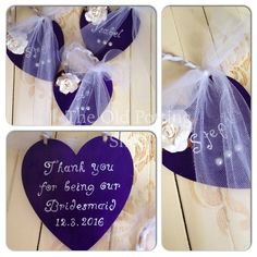 Cadbury Purple Wooden Heart With White Tulle And Rose Detail The Font Is Called Yummy