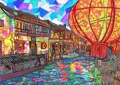 Shang Tang Street Art Print by mosaicpen Old Street, Street Art, Ink Painting, Design Crafts, Artsy Fartsy, Wall Tapestry, Lanterns, Tourism, Art Gallery