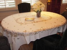Vintage Tablecloth Garden State Golden by unclebunkstrunk on Etsy