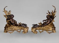 Very beautiful antique pair of andirons in bronze with two patinas with decor of putti and swans (Reference - Available at Galerie Marc Maison Architectural Antiques, Swans, 19th Century, Sconces, Frames, Bronze, Fire, Decorations, Dekoration