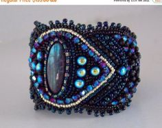 Summer sale 15% Free Shipping,Summer nights , Bead Embroidery Bracelet, Statement, Beadwork, Seed bead bracelet,Labradorite, Black, Blue, Go by vicus. Explore more products on http://vicus.etsy.com