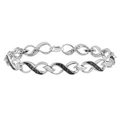075 Carat ctw Sterling Silver Round Black Diamond Ladies Infinity Heart Tennis Link Bracelet 34 CT *** You can find out more details at the link of the image. Note: It's an affiliate link to Amazon