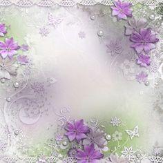 Fond lilas fleurs et dentelles
