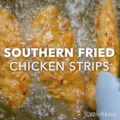 Southern Fried Chicken Strips - My list of simple and healthy recipes Fried Chicken Strips, Chicken Strip Recipes, Chicken Tender Recipes, Fried Chicken Recipes, Meat Recipes, Crockpot Recipes, Vegetarian Recipes, Cooking Recipes, Healthy Recipes
