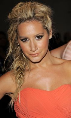 HIGHLIGHTS FROM NEW YORK FASHION WEEK: Ashley Tisdale With A Fishtail Plaited Hairstyle At The Nicole Miller Spring/Summer 2012 Fashion Show
