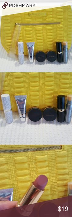NEW Elizabeth Arden Bundle NEW Elizabeth Arden Bundle contains a yellow cosmetic bag with zipper closure and side pocket zipper. Bundle also contains a lip protection stick SPF15-a skin renewal booster sample-(2) pure finish mineral powder foundation samples- exceptional lipstick starlight shade 25- and a prevage anti aging serum sample. All are new, unused products and cosmetic bag is in its original packaging. Elizabeth Arden Makeup