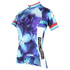 d0af5b003 ILPALADINO Women s Short Sleeve Cycling Jersey - Purple Floral   Botanical  Plus Size Bike Jersey Top