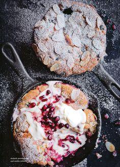 rhubarb,pomegranate& vanilla cobbler