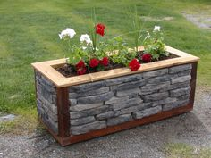 Creative Planter Box Styles, Projects and Tutorials Stone Planter Boxes If you're creating more of a permanent garden, stone really is a great idea. It will add a beautiful touch to the landscape of your yard! Image from Grizzly Ridge Stone. Rustic Planters, Stone Planters, Indoor Planters, Concrete Planters, Diy Planters, Tall Planters, Planter Ideas, Flower Planters, Ceramic Planters