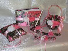 Camo Wedding Set, Wedding Flower Girl Basket, Wedding Pillow, Wedding Guest Book, Pen and Wedding Garter, True Timber Pink Camo Wedding Set by TheMomentWeddingBout on Etsy