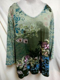 Dressbarn Plus Size Green/Pink Embellished Cotton Top 3X #Dressbarn #KnitTop