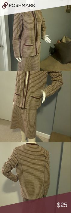 Vintage 2pc skirt set So many options with this lovely 2pc. Burgundy/taupe/white. Poly/acrylic. Size is 16T but in today's world, this looks a little smaller. Style with boots, heels or flats. Rock the jacket with jeans or the skirt with a denim jacket. Do you! Sears Other