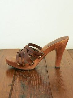 At some point a clog is no longer a clog, but these are hella cute. Vintage Brown Woven Leather Clog Sandals